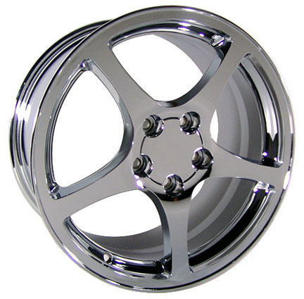 Set of 4 17x8.5/18x9.5 Chrome C5 Thin Spoke Style Wheels