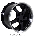 Set of 4 17x9.5/18x10.5 BLACK C5 Dished Wheels