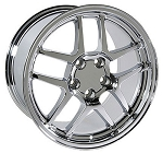 Set of 4 17x9.5/18x10.5 Chrome C5 Z06 Style Wheels