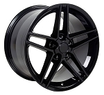Set of (2) 18x9.5 and (2) 18x10.5 Black C6 Z06 Style Wheels