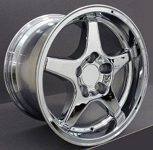 Set of (4) 17x9.5 and 17x11 Chrome C4 ZR1 Style Wheels
