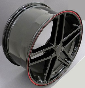 Set of 4 17x9.5/18x9.5 Black C6 Z06 Style Wheels W/ RED Lip